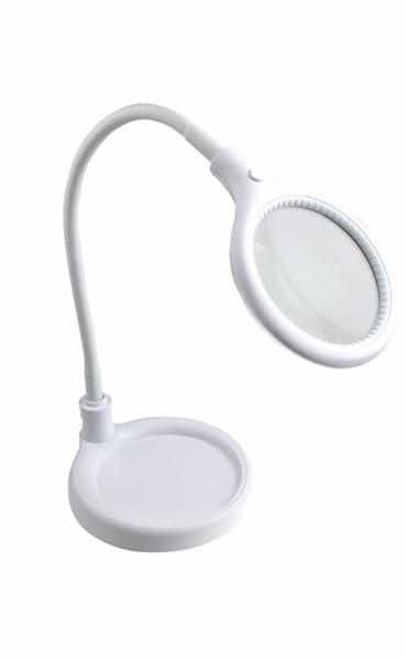 Лупа настольная малая 3X с подсветкой 30 LED (подставка + прищепка), белая Rexant31-0247Лупа настольная малая 3Х с подсветкой 30 LED( прищепка), белая REXANT предназначена для визуального увеличения различных мелких предметов или их фрагментов. Она используется в косметологии, в тату салонах, при выполнении ювелирных и радиомонтажных работ, при ремонте часов, в биологии и медицине, в швейном и вышивальном деле, для организации труда людей со слабым зрением, а также для других работ, где требуется дополнительное увеличение и подсветка рабочего поля. Такая оптическая система состоит из линзы, корпуса и бестеневой подсветки.ОСНОВНЫЕ ПРЕИМУЩЕСТВА:1. Линза изготовлена из стекла. Обеспечит наиболее четкое изображение с минимальным уровнем искажения;2. Бестеневая всесторонняя подсветка предмета. Возможна работа в условиях отсутствия внешнего освещения;3. Увеличенный срок службы. Достигается за счет использования светодиодной (LED) подсветки;4. Удобный механизм регулировки наклона линзы, обеспечит хорошую устойчивость и точную фиксацию лупы в пространстве в необходимом положении, а прищепка позволит мгновенно установить или деинсталлировать устройство;5. Экономия электроэнергии. Потребляет в рабочем состоянии 6Вт;6. Встроенный электронный блок управления, благодаря которому, лампа излучает ровный свет без мерцания;7. Линза с трехкратным увеличением позволит детально рассмотреть фрагмент предмета;8. Быстросъемное кольцо позволит легко демонтировать текущую и установить новую линзу с другими характеристиками, если это необходимо.ТЕХНИЧЕСКИЕ ХАРАКТЕРИСТИКИ:- размер линзы: 95мм;- оптическая сила линзы: 3 диоптрии - 3D (увеличение 1.75 раза );- источник света: 30 светодиодов (LED) расположенных по кругу;- потребляемая мощность подсветки: 6Вт;- цвет корпуса: белый;- напряжение питания: АС 220-240В, 50Гц.Лупа с подсветкой REXANT необходима не только любому специалисту для выполнения работ с высокой точностью и безопасностью для клиента, но также она будет незаменимым прибором в бы