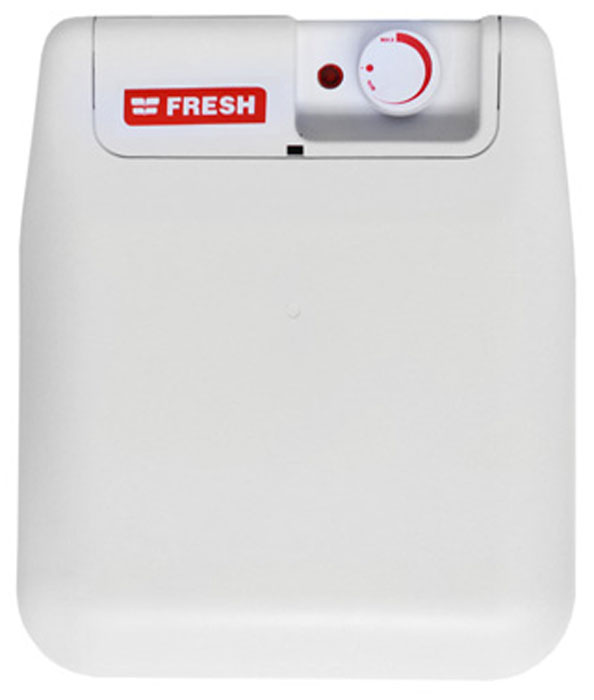 Fresh Small U/S/E 10LT водонагреватель накопительныйFresh SMALL U/S/E 10LTFresh Small U/S/E 10LT - накопительный водонагреватель компактного размера для крепления под мойкой со стеклокерамическим покрытием бака. Компактный плоский пластиковый корпус без острых углов идеально подходит для скрытого монтажа или для мест с малыми габаритами. Простота установки - отличительная черта данной модели. Нагреватель имеет внешний поворотный терморегулятор с функцией включения/выключения.ТЭН с тепловой и токовой защитойУвеличенная площадь нагревательного элементаДлина сетевого шнура: 1 мПатрубки вход/выход: 1/2 дюймаИзоляция: 21 ммВремя нагрева с 15°C до 60°C: 40 минВозвратно-предохранительный клапанРабочее давление: 0,5-8,5 атмСтальной внутренний бакВнутренний ТЭН: стальТип изоляции: Класс 1
