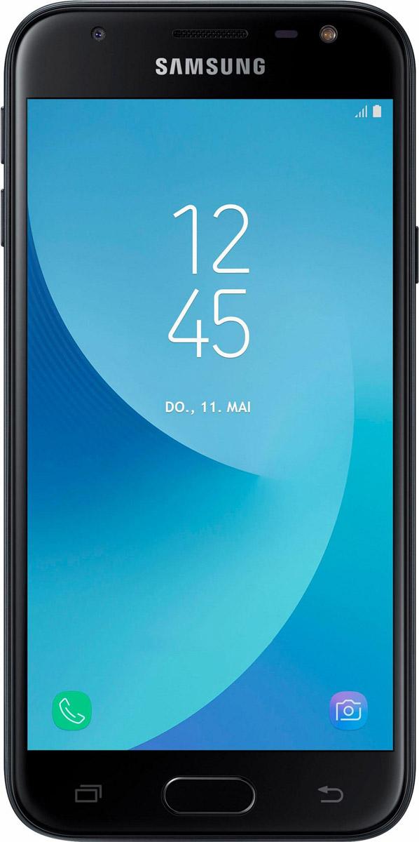 Samsung Galaxy J3 (2017) SM-J330F, BlackSM-J330FZKDSERСмартфон Samsung Galaxy J3 (2017) SM-J330F получил приятный как на вид, так и на ощупь металлический корпус. Сверху и снизу задней панели присутствуют пластиковые вставки под антенны.По центу расположился объектив основной 13-мегапиксельной камеры с диафрагмой f/1.8. Светодиодная вспышка присутствуют как на передней панели, так и задней. Фронтальная камера получила 5-мегапиксельный сенсор с диафрагмой f/2.2.Смартфон работает на процессоре Samsung Exynos 7570. Это четырехъядерное решение, работающее на тактовой частоте 1.4 ГГц. В тандеме с ним функционируют модуль оперативной памяти на 2 ГБ и модуль постоянной на 16 ГБ. За обработку графики отвечает видеоускоритель Mali T720.В устройство встроен LTE-модуль Cat.4, обеспечивающий высокую скорость беспроводной передачи данных (150 Мбит/с). Смартфон оборудован Wi-Fi 802.11n, Bluetooth 4.2, GPS и ГЛОНАСС.Телефон сертифицирован EAC и имеет русифицированный интерфейс меню и Руководство пользователя.