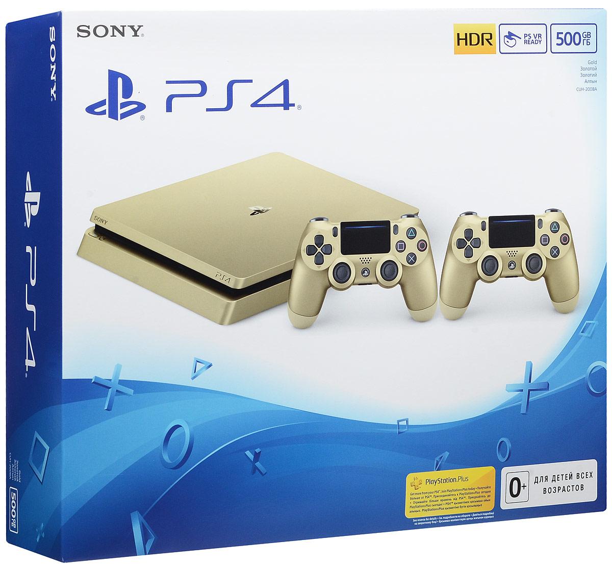 Игровая приставка Sony PlayStation 4 Slim (500 GB), Gold + дополнительный контроллер Dualshock 4PS719848561Попробуйте тонкую, компактную и по-прежнему мощную PS4 для тех, кто играет.Откройте для себя яркие, насыщенные цвета с потрясающей HDR-визуализацией. На 30% тоньше и на 16% легче, чем оригинальная модель PS4. Храните свои игры, приложения, изображения и видео на жестком диске на 500 Гб. Все популярные телепередачи, фильмы и многое другое доступно в ваших любимых развлекательных приложениях.Улучшенный беспроводной контроллер Dualshock 4 ощущается по-другому и обладает новыми особенностями, включая более яркую световую панель, с помощью которой вы получите еще больше контроля в играх.; Это самый удобный и точный контроллер из всех, что были выпущены для PlayStation.В вашем распоряжении самые крупные хиты, эксклюзивы PlayStation и игры с полным погружением. Приглашайте друзей присоединиться к вашему приключению, бросайте им вызов в многопользовательских матчах или позвольте им играть вместо вас, даже если у них нет этой игры. Транслируйте свои игры на ПК, Mac или PlayStation Vita по домашней сети Wi-Fi и забудьте про необходимость телевизора. Ведите прямые трансляции своих приключений для всего мира в Twitch, YouTube или Dailymotion.Делитесь снимками экрана и видеороликами ваших самых впечатляющих моментов в играх в Twitter и Facebook. Создавайте тусовки, общайтесь с друзьями и присоединяйтесь к игровым сообществам, чтобы найти новых игроков. Заключайте союзы, сводите счеты и играйте с друзьями и соперниками в сетевых режимах ваших любимых игр – эксклюзивно для подписчиков PlayStation Plus.Регулярные обновления системного программного обеспечения PS4 дарят вам новые особенности и способы быть на связи, общаться и играть. Улучшенный и более лаконичный благодаря новым обновлениям, значкам и фоновым изображениям интерфейса. Вы можете с легкостью переносить игры, данные профилей, изображения и все остальной с одной консоли PS4 на другую. Настройте свой профиль и сравн