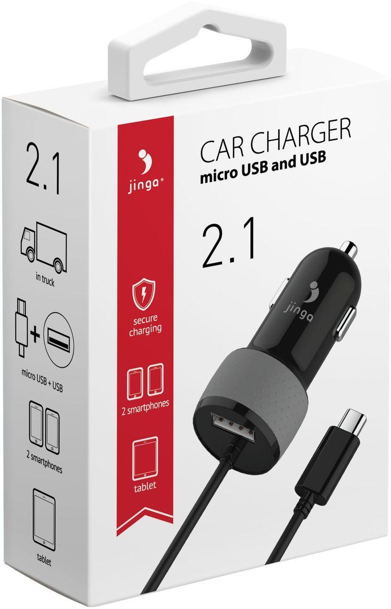 Jinga JinCARM21BL, Black автомобильное зарядное устройствоJinCARM21BLАвтомобильное зарядное устройство JINGA Те, кто большую часть рабочего времени проводят за рулем, оценят возможность купить автомобильное зарядное устройство Jinga micro USB (черное). Что можно отнести к преимуществам использования? Их довольно много:- универсальность — зарядка совместима с КПК, смартфоном, коммуникатором;- наличие разъемов microUSB-USB;- комфортность и простота эксплуатации;- цена устройства делает его покупку возможной для всех.Если нет желания остаться с севшим телефоном в самый неподходящий момент, то необходимо всегда иметь возможность подзарядить свой гаджет. Для автомобилистов лучший вариант решения этого вопроса — зарядное устройство Jinga micro USB.