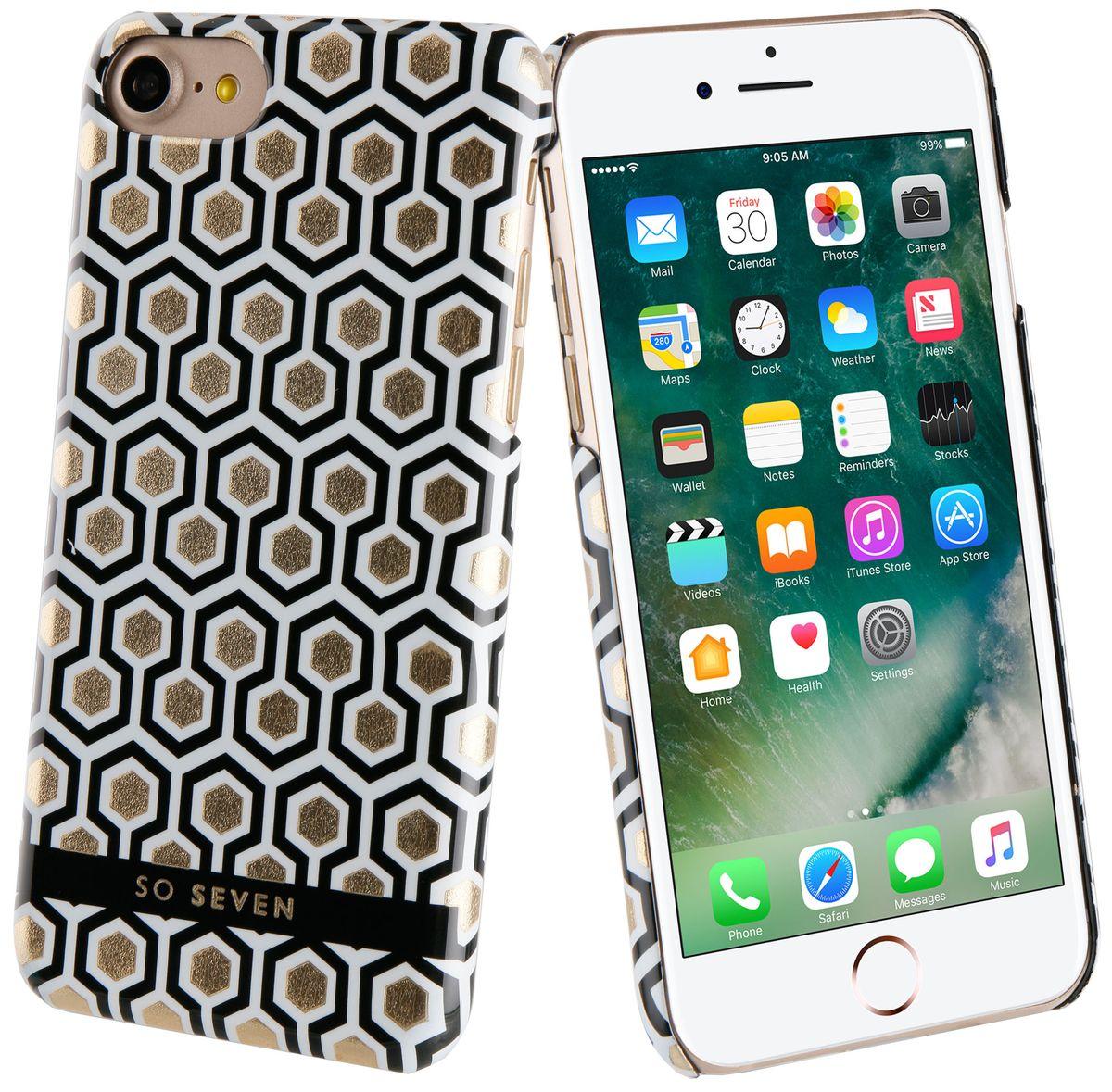 So Seven Midnight Hexagnale чехол для Apple iPhone 7SVNCSMN1IP7Чехол-накладка изготовлен из жесткого поликарбоната, который выдерживает большие нагрузки, не допуская повреждения устройства. Рисунок нанесен с помощью современной методики ультрафиолетовой печати, благодаря чему он не выцветает и не теряет четких очертаний со временем.