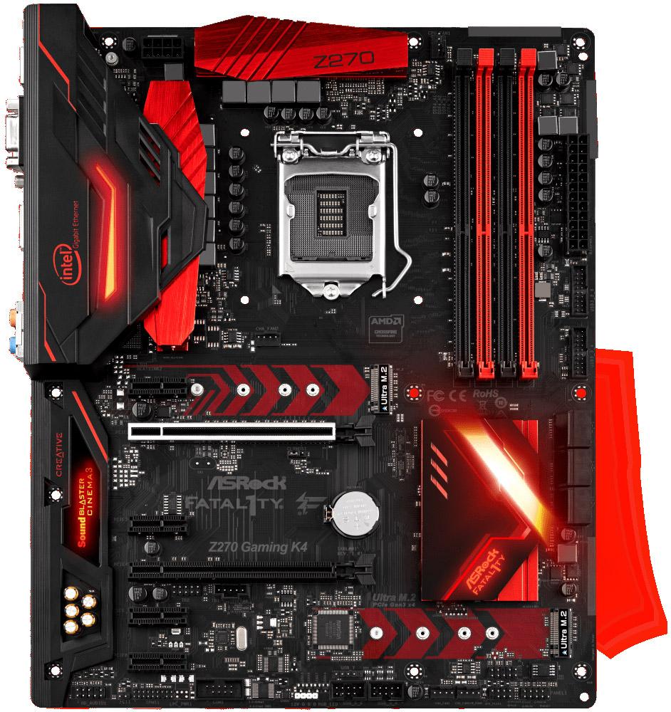 ASRock Fatal1ty Z270 Gaming K4 материнская платаZ270 GAMING K4Материнская плата Asrock Z270 GAMING K4 Soc-1151 Intel Z270 4xDDR4 ATX AC`97 8ch(7.1) GbLAN RAID+DVI