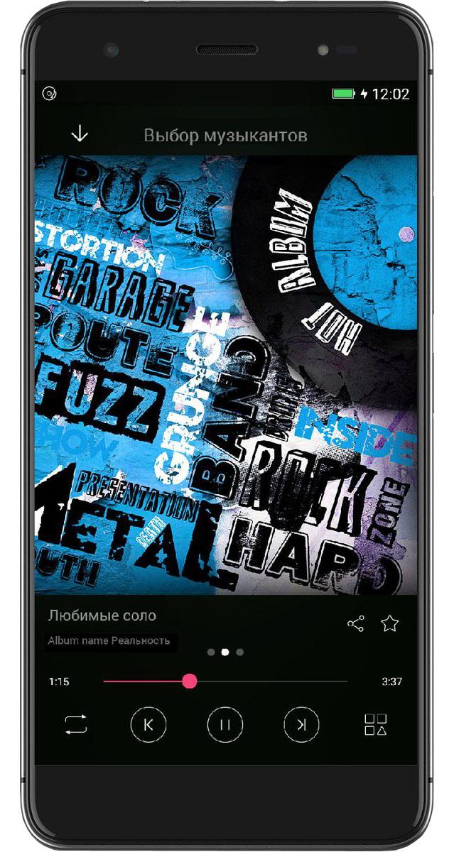 Highscreen Fest XL, Black23928Тонкий смартфон в привлекательном дизайне, с музыкальным чипсетом, TouchID