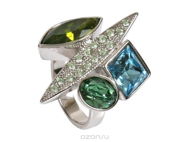 Кольцо Jenavi Подиум. Блеск, цвет: серебристый, зеленый, синий. h190f070Коктейльное кольцоКольцо Jenavi Подиум. Блеск, цвет: серебристый, зеленый, синий. h190f070