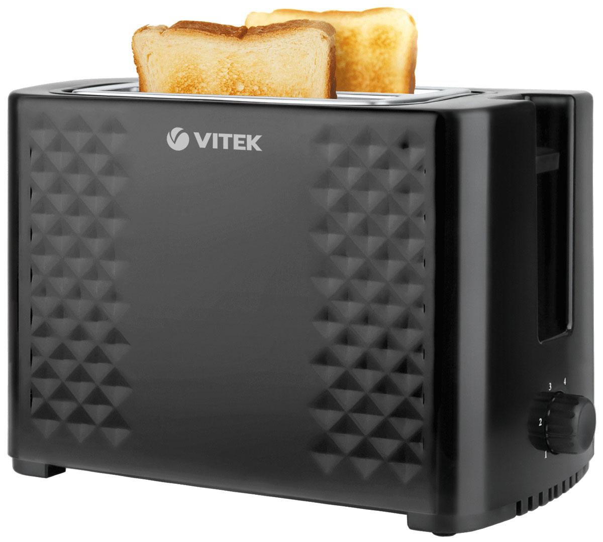 Vitek VT-1586(BK) тостерVT-1586(BK)Тостер Vitek VT-1586(BK) станет настоящей изюминкой вашей кухни. Он прекрасно будет смотреться в тендеме с самой современной кухонной техникой. С данным тостером приготовить вкусный завтрак не составит труда. При этом вы не обожжетесь при использовании устройства, поскольку теплоизолированные стенки не нагреваются. Удобно расположенная панель управления позволит вам установить нужный режим обжарки или подогрева тостов. Надежный и качественный тостер будет радовать вас долго.