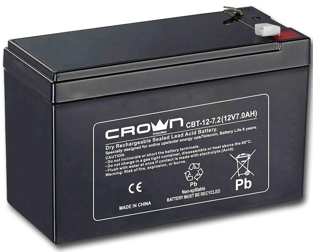 Crown CBT-12-7.2 аккумулятор для ИБПCM000001677Crown CBT-12-7.2 - надежный аккумулятор для ИБП (источники бесперебойного питания), а также других устройств, где необходим источник тока.Свинцово-кислотные аккумуляторы разработаны и оптимизированы для источников и систем бесперебойного питания, и для работы в буферном режиме. Предусмотрена полностью герметичная конструкция, и клапан внутренней рекомбинации газов, что делает аккумуляторы нетоксичными, и безопасными для работы в офисе идома.Высокотехнологичный дизайн свинцово-оловянной сетки ячеек для увеличения ёмкостиДлительный срок службы при постоянном разряде-заряде или храненииНизкий саморазрядТип клемм: F2Максимальный ток разряда: 105А (5с)Ток заряда: не более 2.1АНапряжение: 14.4 В - 15.0 В при температуре 25°C