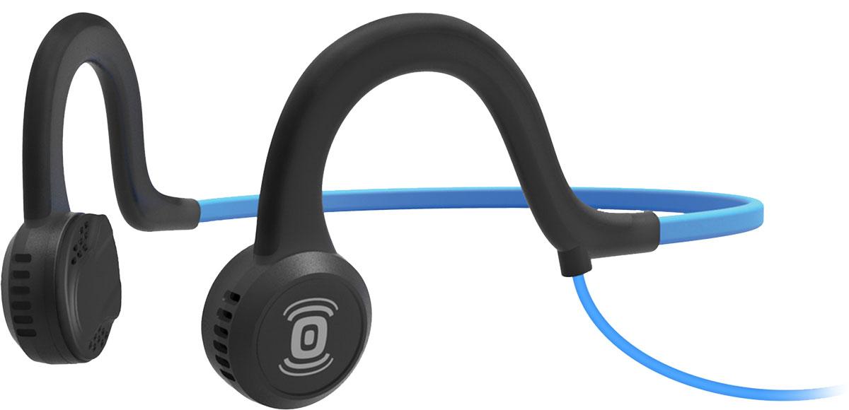 Aftershokz Sportz Titanium AS401, Blue наушникиAS401OBAfterShokz Sportz Titanium - это спортивная гарнитура с уникальной технологией проводимости звука непосредственно в кость. Гарнитура позволяет прослушивать музыку до 12 часов на одном заряде батареи, а время зарядки составляет всего два часа. Использованная в AfterShokz Sportz Titanium технология PremiumPitch (костная проводимость звука) позволяет слушать музыку и происходящее вокруг одновременно. Данная особенность позволяет сосредоточится на тренировке, но при этом быть всегда на чеку. Максимальное звуковое давление у данной модели составляет 101 дБ, что обеспечит достаточно высокую громкость наушников. AfterShokz Sportz Titanium изготовлены из качественных и прочных материалов, основным из которых является титан. Гарнитура крепится на затылке и имеет гибкое крепление, благодаря чему она не вызывает дискомфорта при интенсивных тренировках.