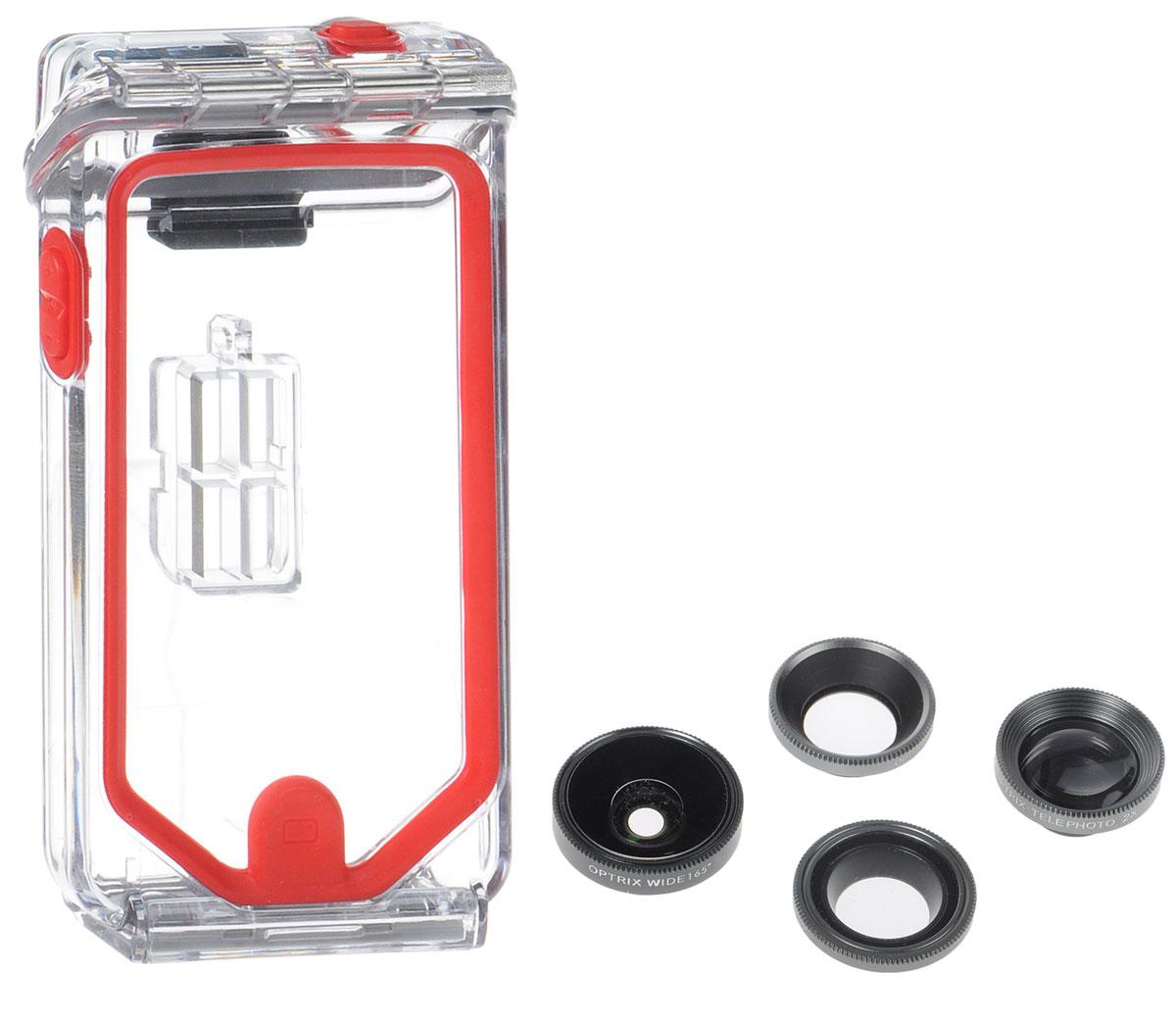 Optrix Photo Pro, Black Red набор для фотосъемки для iPhone 5/5s/SEFS-94678Профессиональный набор, включающий 4 сменных объектива и жесткий чехол для их хранения. Снимайте в любых ситуациях, в любых условиях, не боясь повредить свой iPhone.Чехол Optrix для iPhone отличается точно сконструированной и надежной конструкцией, превращающей ваш iPhone в полноценную экшн-камеру: съемка во время сплава по реке, велопрогулки, катания на лыжах, пляжного отдыха - все это возможно теперь при помощи Вашего iPhone! • 100% водонепроницаемость при погружении на глубину до 4,5 м (соответствует стандарту IP68)• Ударопрочность: выдерживает падение с высоты до 6,1 м (соответствует стандарту MIL-STD-810G)• Сверхпрочный корпус, сохраняющий весь функционал смартфона• Специальная защитная мембрана сохраняет все свойства сенсорного экрана устройства• Подходит к широкому ассортименту креплений• 4 сменных объектива (алюминий/стекло)