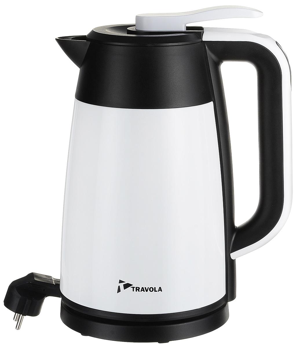 Travola 1700-3A чайник электрический с функцией поддержания теплаHEK-1700-3AЭлектрический чайник с функцией поддержания тепла Travola HEK-1700-3A прост в управлении и долговечен в использовании. Изготовлен из высококачественных материалов. Мощность 2200 Вт позволит вскипятить 1,7 литра воды в считанные минуты. Беспроводное соединение позволяет вращать чайник на подставке на 360°. Для обеспечения безопасности при повседневном использовании предусмотрена функция автовыключения.Световой индикатор температуры на ручкеПоддержание тепла: 2 часа - 80°С, 4 часа - 68°С