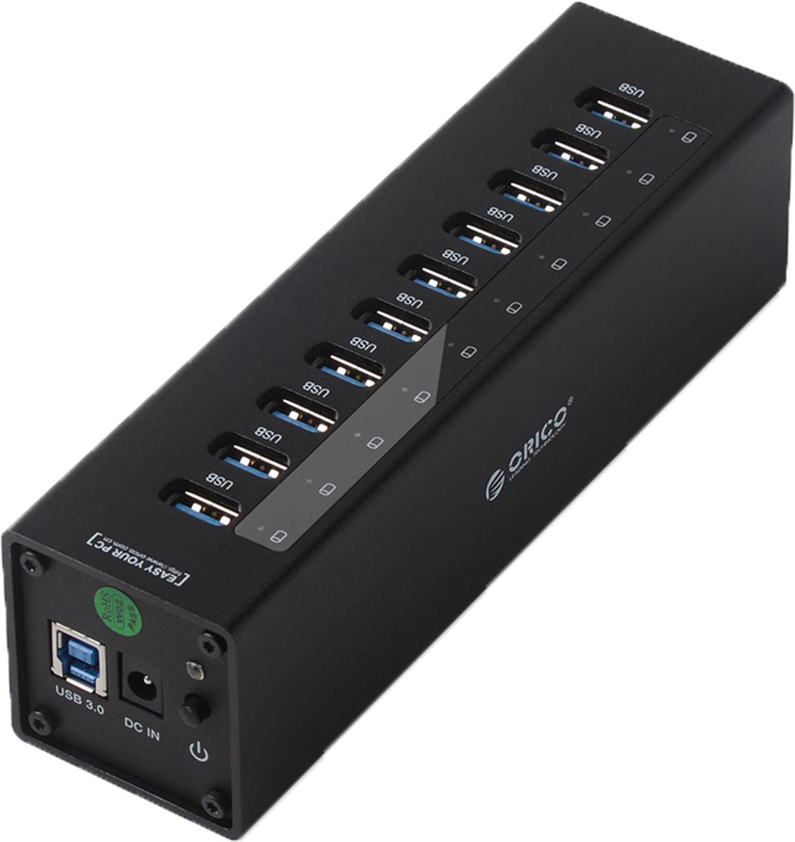 Orico A3H10, Black USB-концентраторORICO A3H10-BKOrico A3H10 оснащён 10 разъёмами USB 3.0, такого количества универсальных портов хватит на все случаи жизни. Периферия, накопители, принтеры, сканеры и другие устройства – к Orico A3H10 можно подключить любой девайс, поддерживающий стандарт USB. Все разъёмы Orico A3H10 обеспечивают скорость передачи данных в 5 Гбит/сек. Этой скорости с запасом хватит не только для подключения простой периферии, но и для жёстких дисков и быстрых флэш-накопителей. Orico A3H10 не требует установки драйверов и совместим с большинством популярных операционных систем: Windows XP, Vista, 7, 8, 8.1, 10, Mac OS и Linux. Высокопроизводительный USB-концентратор c 10 портами USB 3.0.Двухъядерный контроллер VIA Vl812 гарантирует эффективное использование энергии и высокую скорость передачи данных.Алюминиевый корпус.Скорость передачи данных до 5 Гбит/c.Внешний блок питания.Кабель USB 3.0 длиной 1 метр.Характеристики:Источник питания: Сетевой адаптерМатериал корпуса: Алиминевый сплавВход USB 3.0 тип ВВыход USB 3.0 тип АUSB выходов: 10Стандарты USB: USB 3.0 / 2.0 / 1.1Скорость сигнала: 5 Гбит/секПоддерживаемые ОС: Windows XP, Vista, 7, 8, 8.1, 10, Mac OS, LinuxПоддержка Plug&Play: ЕстьКонтроллер Via-Labs VL812Индикатор питания: ЕстьГабариты 50х50х184 ммДлина кабеля 1 м.
