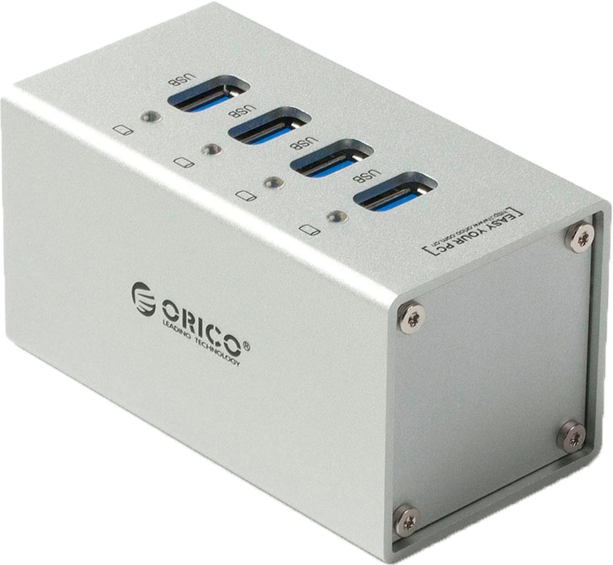 Orico A3H4, Silver USB-концентраторORICO A3H4-SVКорпус Orico A3H4 изготовлен из качественного алюминиевого сплава с матовым покрытием.Все разъёмы Orico A3H4 обеспечивают скорость передачи данных в 5 Гбит/сек. Этой скорости с запасом хватит не только для подключения простой периферии, но для жёстких дисков и быстрых флэш-накопителей.Orico A3H4 не требует установки драйверов и совместим с большинством популярных операционных систем: Windows XP, Vista, 7, 8, 8.1, 10, Mac OS и Linux.Высокопроизводительный концентратор USB 3.0 на четыре порта USB 3.0.Двухъядерный контроллер VIA Vl812 гарантирует эффективное использование энергии и высокую скорость передачи данных.Алюминиевый корпус.Скорость передачи данных до 5 Гбит/c.Внешний блок питания.Кабель USB 3.0 длиной 1 метр.Характеристики:Источник питания: Внешний блок питания 30 ВтМатериал корпуса: АлюминийВход USB 3.0 Type BВыход USB 3.0 Type AUSB выходов: 4Стандарты USB: 3.0; 2.0; 1.1; 1.0Скорость сигнала: 5 Гбит/секПоддерживаемые ОС: Windows XP, Vista, 7, 8, 8.1, 10, Mac OS и LinuxИндикатор питания LED синийДлина кабеля 1 метр.