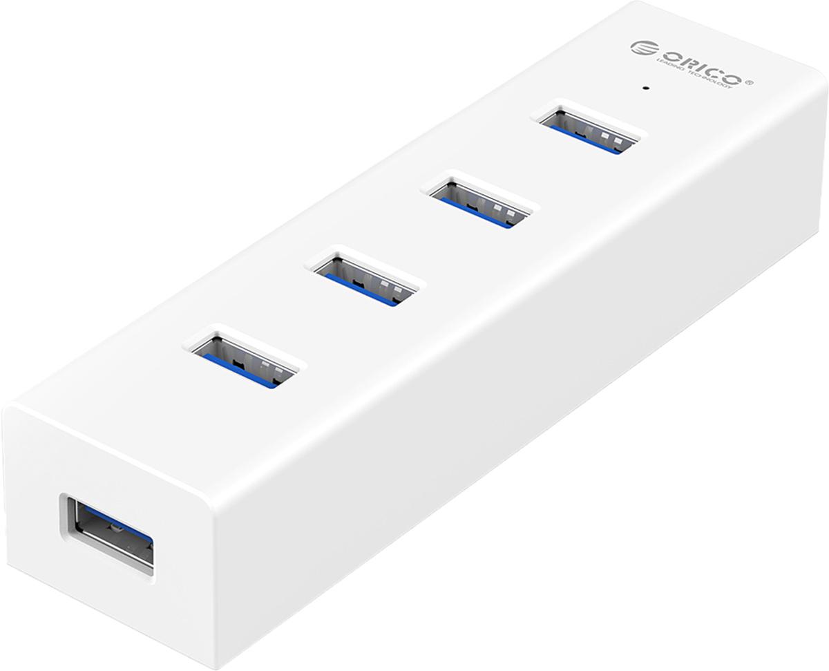 Orico H4013-U3, White USB-концентраторORICO H4013-U3-WHOrico H4013-U3 хорошее дополнение к ПК или ноутбуку, облегчающее пользование USB разъемами компьютера. Четыре порта USB 3.0 позволят подключать различные устройства разнообразной периферии и передавать данные на высокой скорости.Двухъядерный контроллер Via-Labs VL812 обеспечивает стабильную работу концентратора при подключении большого количества устройств или при копировании больших объёмов данных на флешки или жёсткие диски.Все USB порты поддерживают скорость передачи данных до 5 Гбит/сек. Этой скорости с запасом хватит для одновременного подключения как простой периферии, так и высокоскоростных жёстких дисков и флэш-накопителей.Компактные размеры и прочный корпус делают концентратор полезным и удобным в поездках. Девайс легко помещается всумке или рюкзаке.Концентратор не требуетустановки драйверов и совместим с большинством популярных операционных систем: Windows XP, Vista, 7, 8, 8.1, 10, Mac OS и Linux.Питание от USB портаВозможность подключения дополнительного питанияМатериал корпуса: анодированный алюминийИндикатор питания: LED синийДлина кабеля: 1 метр