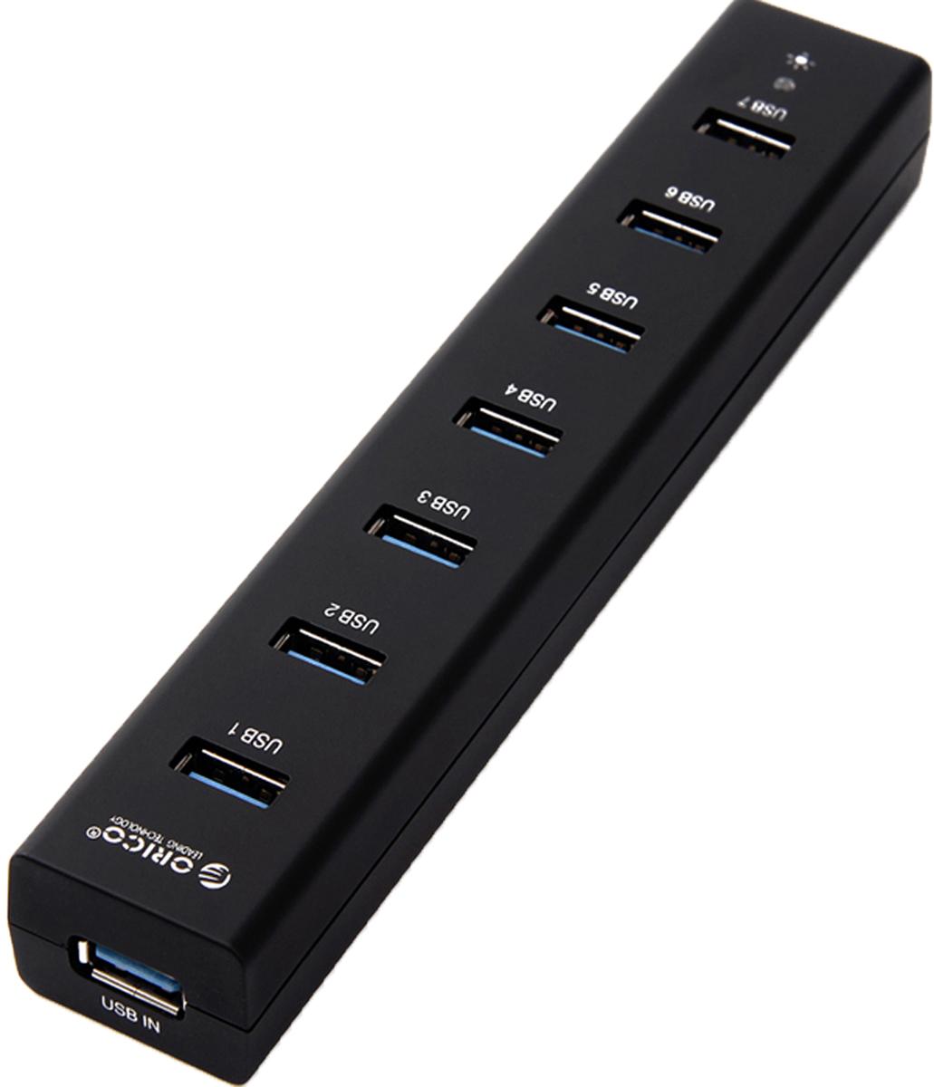 Orico H7013-U3, Black USB-концентраторORICO H7013-U3-BKOrico H7013-U3 может отлично дополнить любой ультрабук или ПК. Семь портов USB 3.0 позволят подключить разнообразную периферию, а благодаря внешнему блоку питания, всем подключённым жёстким дискам хватит мощности. Контроллер производства Via-Labs обеспечит стабильную работу концентратора при подключении большого количества устройств или при копировании больших объёмов данных на флешки или жёсткие диски. Все разъёмы Orico H7013-U3 обеспечивают скорость передачи данных в 5 Гбит/сек. Этой скорости с запасом хватит не только для подключения простой периферии, но для жёстких дисков и быстрых флэш-накопителей. Orico H7013-U3 оборудован 7 портами USB и при подключении большого числа накопителей ему понадобится внешнее питание. Для этого в комплекте предусмотрен блок питания кабелем длиной 1 метр. У Orico H7013-U3 компактный минималистичный дизайн, поэтому он может стать идеальным спутником во время поездок.Orico H7013-U3 не требует установки драйверов и совместим с большинством популярных операционных систем: Windows XP, Vista, 7, 8, 8.1, 10, Mac OS и Linux.Адаптер питания в комплекте.7 портов USB 3.0 для подключения периферии, флешек и жёстких дисков.LED-индикатор питания.Характеристики:Источник питания: Внешний блок питанияМатериал корпуса: ABS-пластикВход USB 3.0 Type AВыход USB 3.0 Type AUSB выходов: 7Стандарты USB: 3.0; 2.0; 1.1; 1.0Скорость сигнала: 5 Гбит/секГабариты 187x32x23 ммДлина кабеля 1 метр у блока питания 1 метр для USB-хаба.
