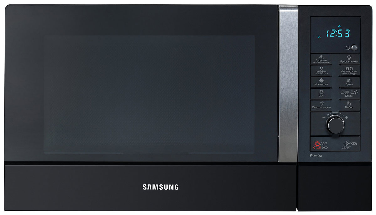 Samsung CE-107MNR-B, Black СВЧ-печьCE107MNR-B/BWTЕсли вы используете микроволновую печь только для того, чтобы приготовить попкорн, вы не одиноки. Однако теперь новый дизайн в корне изменит ваше представление о микроволновках. Возьмитесь за эргономичную ручку дверцы печи Samsung CE107MNR-B, и вы поймете, что печка не только приятна на ощупь, но ее вид радует глаз.Новая конвекционная технология TRIO представляет собой систему трех нагревательных элементов: керамический и кварцевый грили и ТЭНовый конвекционный нагреватель. Cистема TRIO позволяет получить улучшенные результаты приготовления:снижает время прогрева печи;сохраняет больше влаги;обеспечивает равномерный прогрев и приготовление продукта.Микроволновые печи TRIO более компактны: уменьшена глубина печи, что позволит сэкономить место на кухне, также потребляют меньше электроэнергии при приготовлении в режиме конвекции.Некогда искать рецепт в кулинарной книге? Не можете найти нужный рецепт? Слишком мало времени на творческую кулинарию? Предоставьте все это системе Автоменю микроволновки Samsung. Вместо того, чтобы выбирать нужную температуру и время приготовления блюда, просто выберите нужную опцию меню и поверните рукоятку выбора режима. Результат превзойдет все ожидания членов вашей семьи и друзей. Не признавайтесь им, что все это приготовила микроволновая печь. Пусть это будет вашим маленьким секретом.Инновационная технология Steam Clean позволяет микроволновой печи проводить практически самостоятельную очистку внутреннего объёма. Просто налейте в контейнер Steam Clean воду и прикрепите его внутри камеры. Процесс очистки запускается нажатием одной кнопки. В результате ваша печь будет всегда чистой и гигиеничной без использования химических чистящих средств.Приготовить пиццу или пирог с хрустящей корочкой непросто даже в обычной духовке, а в микроволновой печи это и вовсе невозможно. Вернее, было невозможно раньше. СВЧ-печь снабжена специальным блюдом Crusty Plate, в котором пицца и подобные продукты равномерн