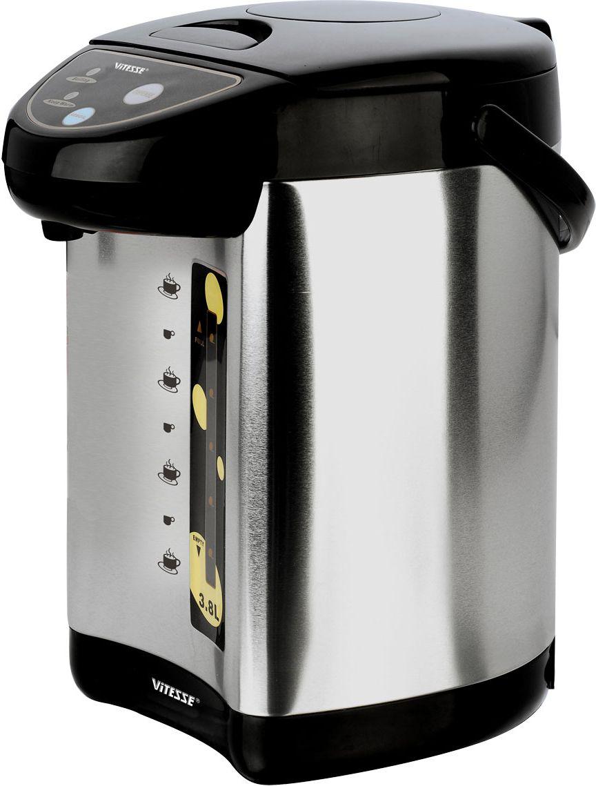 Vitesse VS-125VS-125Термопот Vitesse VS-125 позволяет кипятить воду и сохранять ее горячей в течение длительного времени. Это позволяет не только в любой момент получить горячую воду, но и сэкономить электроэнергию, так как не нужно будет кипятить ее снова и снова. Стильный и аккуратный термопот Vitesse с объемной колбой и несколькими температурными режимами позволяет вам быстро приготовить нужный напиток или блюдо, используя воду оптимальной температуры, а дети или пожилые люди смогут безопасно и быстро, не поднимая тяжелый чайник, налить себе чашку вкусного чая.
