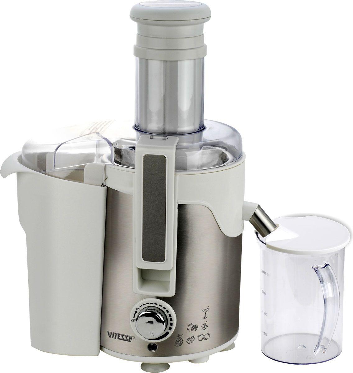 Vitesse VS-550 соковыжималкаVS-550Электрическая соковыжималка Vitesse VS-550 обладает высокой мощностью и широкой горловиной, что удобно при закладке исходных продуктов. С соковыжималкой Vitesse вы легко сможете приготовить свежий, полный витаминов сок из фруктов и овощей. Дополнительную устойчивость придают прорезиненные ножки, а благодаря простому управлению и функции автоматического выброса мякоти процесс не займет много времени.