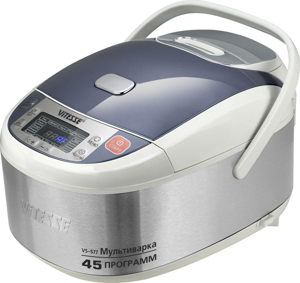 Vitesse VS-577 мультиваркаVS-577Мультиварка Vitesse VS-577 с шестнадцатью автоматическими программами приготовления. 3D нагрев обеспечивает более быстрое и равномерное распределение тепла. Внутренняя чаша с керамическим покрытием Eco-Cera позволяет готовить без масла. Мультиварка имеет ручка для удобного перемещения.УВАЖАЕМЫЕ КЛИЕНТЫ! Обращаем ваше внимание на тот факт, что объем чаши указан максимальный, с учетом полного наполнения до кромки. Шкала на внутренней стенке имеет меньший литраж.