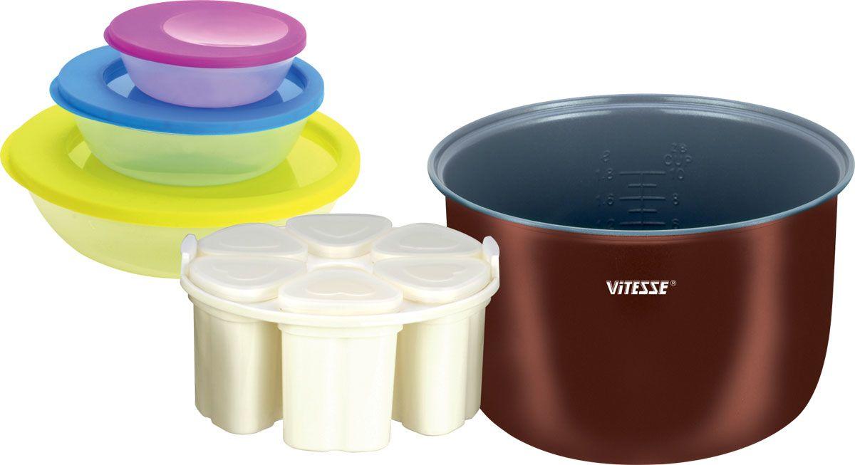 Vitesse VS-580 набор для мультиваркиVS-580В набор для мультиварки входит:Сменная чаша для мультиварки:Толщина стенок 1,8 ммВнешнее термостойкое покрытиеВнутреннее керамическое покрытие Eco-CeraЦвет: МедныйОбъем чаши: 4 лРазмер (ВхШ): 13 см х 24 см Набор для приготовления йогурта:Емкость стаканчика - 200 мл6 стаканчиков = 6 йогуртов с разным вкусом одновременноКрышечки стаканчиков для хранения йогурта в холодильникеПодставка для равномерного размещения стаканчиков в чаше (обеспечивает оптимальную микросреду для приготовления йогурта) Набор контейнеров для хранения (3 шт.):Емкость - 1125 мл, 538 мл, 196 млМожно использовать в микроволновой печи, морозильной камереМожно мыть в посудомоечной машинеЧаша из набора VS-580 подходит для мультиварок: VS-513, VS-517, VS-520, VS-521, VS-576, VS-577, VS-578, VS-582, VS-586, VS-592, VS-594, VS-599Чаша из данного набора не подходит для использования в скороварках