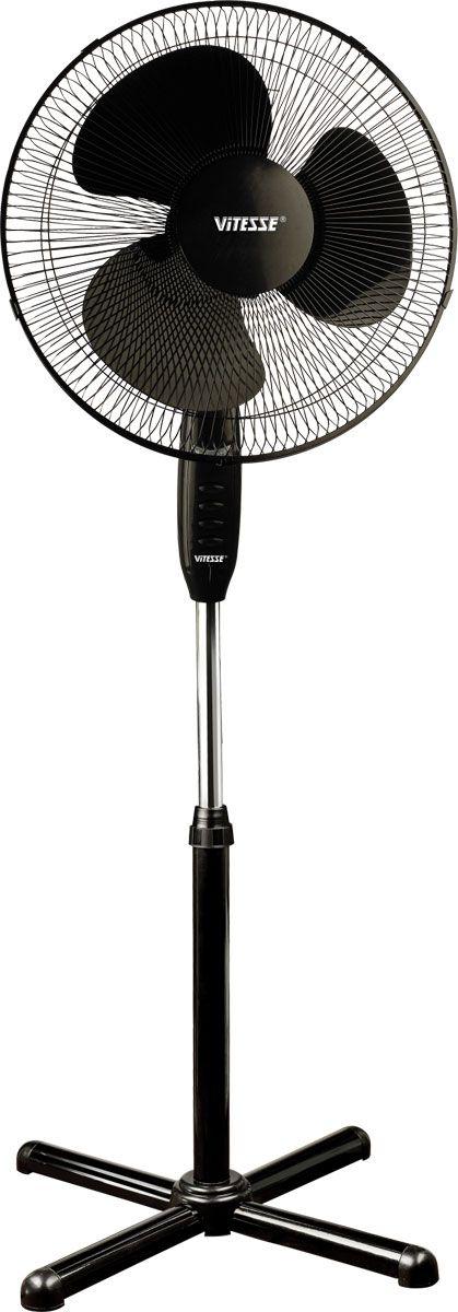 Vitesse VS-803, Black напольный вентиляторVS-803Напольный вентилятор Vitesse VS-803 с регулировкой высоты и наклона имеет мощность 60 Вт и три режима работы. Диаметр лопастей составляет 33 см. Вентилятор может автоматически вращаться на 90 градусов, а также оснащен защитной решёткой для безопасного использования.