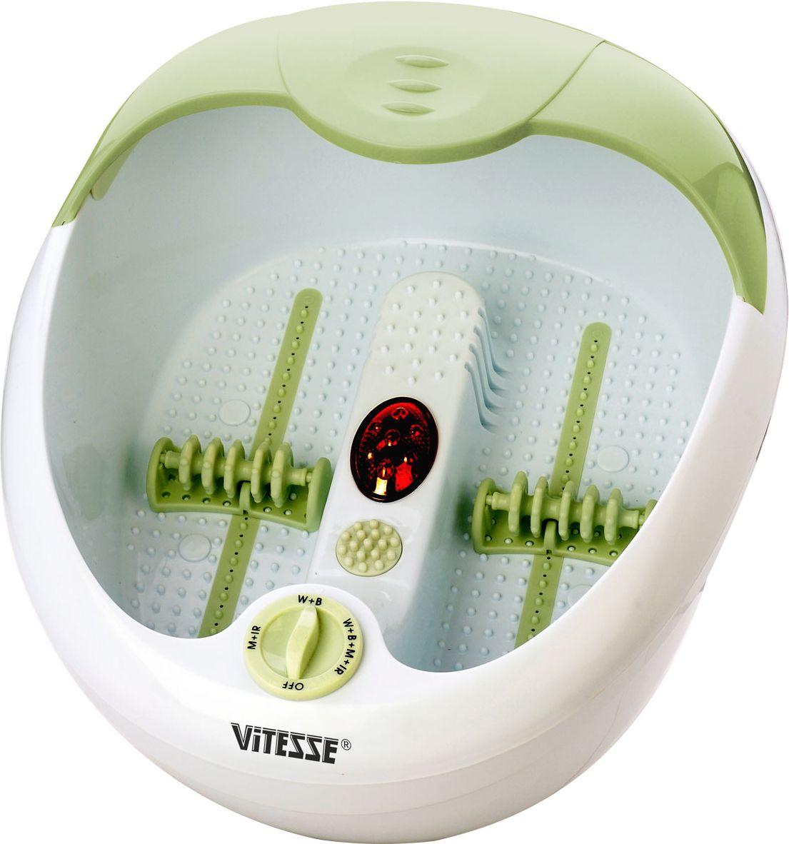Vitesse VS-970VS-970Массажер для ног Vitesse VS-970 поможет снять усталость после тяжелого дня, проведенного в постоянной беготне. Он оснащен педикюрным набором и четырьмя скоростными режимами, что позволит Вам выбрать самый подходящий для себя. Он сам подогреет воду до нужной температуры и будет поддерживать её, чтобы Вы могли наслаждаться процедурой сколько угодно долго.