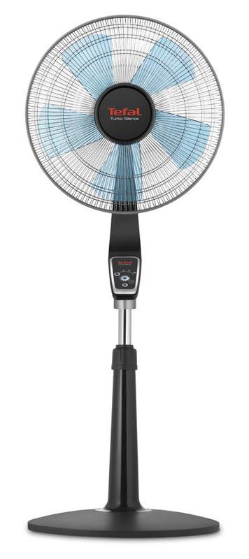 Tefal VF5550F0 вентилятор напольныйVF5550F0Напольный вентилятор Tefal VF5550F0 Turbo Silence отличается исключительно тихой работой — уровень шума не превышает 50 дБ — но способен спасти вас от жары или просто освежить лёгким ветром. Три скоростных режима помогают подобрать комфортную силу обдува, а турбо-режим спасёт в случае экстремально жаркой погоды. Вентилятор снабжен устойчивой подставкой и защитной сеткой и полностью безопасен для окружающих.Функция Turbo Boost обеспечивает немедленное ощущение интенсивного свежего воздуха. Мощность воздушного потока до 80 кубометров в минуту.Полностью электронное управление с пультом дистанционного изменения параметровМаксимальный комфорт пользования устройством благодаря регулируемой высоте и автоматическому вращению