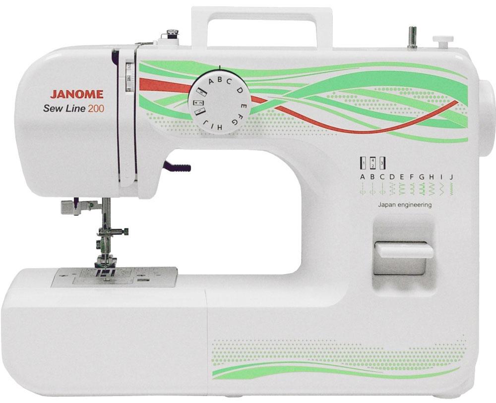 Janome Sew Line 200 швейная машинаSew Line 200Легкая в использовании электромеханическая швейная машина Janome Sew Line 200 идеально подходит как для начинающих, так и для более опытных пользователей. Эргономичный дизайн, приятное исполнение, наличие всех необходимых для шитья операций - основные достоинства этой модели. Janome Sew Line 200 великолепно работает с разными видами тканей.
