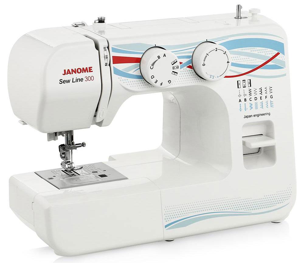 Janome Sew Line 300 швейная машинаSew Line 300Легкая в использовании электромеханическая швейная машина Janome Sew Line 300 идеально подходит как для начинающих, так и для более опытных пользователей. Эргономичный дизайн, приятное исполнение, наличие всех необходимых для шитья операций - основные достоинства этой модели. Janome Sew Line 300 великолепно работает с разными видами тканей.