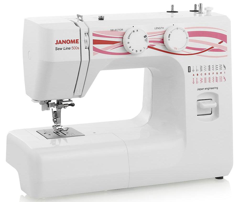 Janome Sew Line 500s швейная машинаSew Line 500sМногофункциональная швейная машинка Janome Sew Line 500s для всех видов тканей. Оснащена 19 швейными операциями, классическим вертикальным челноком и предназначена для шитья и ремонта одежды из любых тканей. Дополнительное удобство работы - автоматически выметываемая рубашечная петля и нитевдеватель нити в иглу.