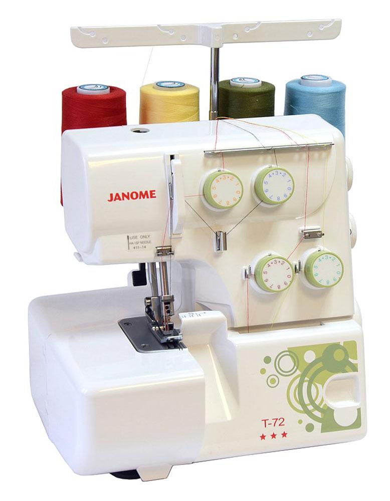 Janome Т-72 оверлокТ - 724/3-ниточный оверлок Janome Т-72- идеальное дополнение к вашей швейной машине. Он имеет простой и надёжный механизм. Регулятор давления лапки на ткань и дифференциал подачи ткани поможет легко справляется с любыми современными материалами.