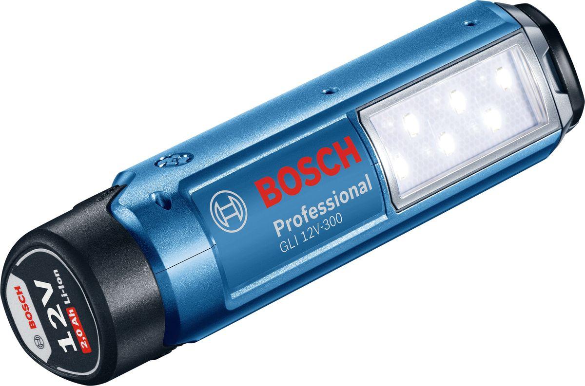 Аккумуляторный фонарь Bosch GLI 12V-300. 06014A100006014A1000Фонарь Bosch 12 В (в комплект не входит) работает от аккумуляторов любых электроинструментов серии 10,8 / 12 В Bosch Professional (синего цвета). Яркий и безопасный; гибкий в использовании; 6 мощных светодиодов. Яркость - 300 Лм; время работы - 180 мин/Ач.