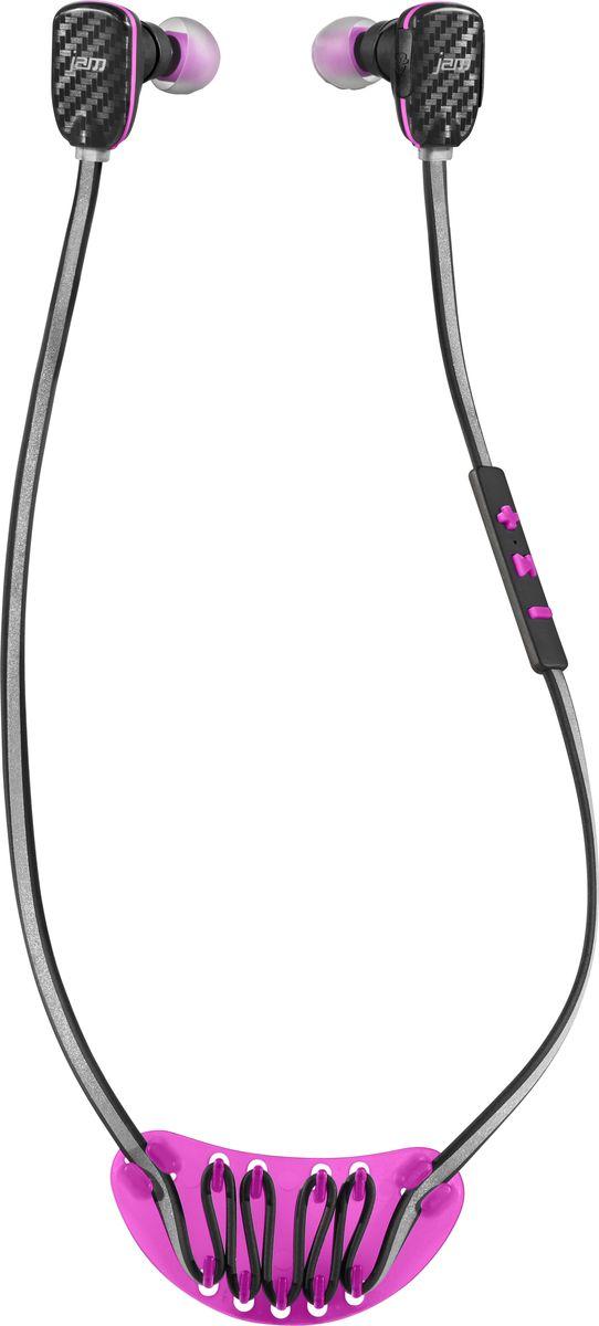 Jam Transit Micro Sport Buds, Pink беспроводные наушникиHX-EP510PK-EUСпортивные Bluetooth наушники с микрофоном Jam Transit Micro Sport Buds будут радовать вас в любое время суток во время тренировок, путешествий и на ежедневных прогулках. БезопасностьСветоотражающий кабель делает вас заметными в темное время суток, что поможет повысить уровень вашей безопасности. При необходимости, возможно отключить звук на левом наушнике с помощью дополнительной функции Safe Surround Mute , путем нажатия кнопки на корпусе. Стильные и функциональныеДля быстрого отключения воспроизведения аудио и Bluetooth соединения, вам необходимо всего лишь соединить корпус наушников, в которые встроен магнит. Помимо этого, закрепив наушники на шее, это превращает их в стильный аксессуар и не позволит им потеряться. Для повторного Bluetooth соединения необходимо будет нажать и удерживать в течение 5 секунд кнопку Play (при включенном Bluetooth на вашем смартфоне или ином устройстве).Удобное управление звуком находится на кабеле.В наушниках Jam Transit Micro Sport Buds присутствует высокая степень защиты класса IPX4( защита устройства от воздействия пота и влаги).Продолжительность работыАвтономная работа при полностью заряженном аккумуляторе позволит вам до 10ч непрерывно наслаждаться вашими любимыми композициями.КомплектацияВ комплекте вы найдете не только набор амбушюр, внутриушных держателей и заушины, но и спортивную бутылку для воды из безопасного пищевого пластика Tritan. Бутылка выполнена в аналогичной цветовой гамме как и наушники.