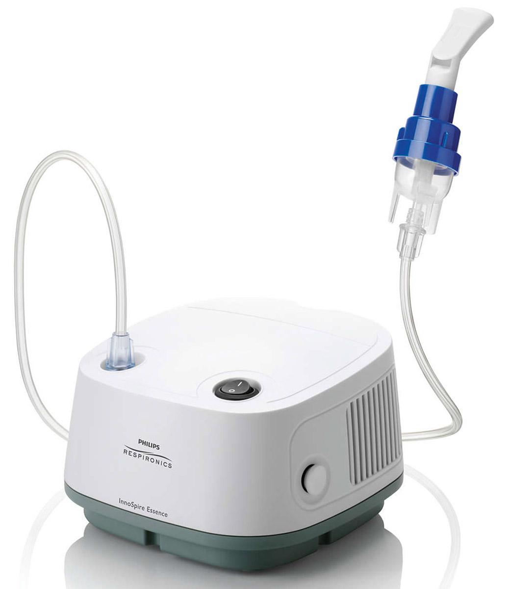 Philips InnoSpire Essence HH1338/00 компрессорный ингалятор1126225Компрессорный ингалятор InnoSpire от Philips Respironics - устройство по разумной цене, обеспечивающее быстрое и эффективное введение лекарственных препаратов при аэрозольной терапии.Компрессорная ингаляционная система InnoSpire Essence эффективно работает в сочетании с ингаляторами SideStream, оснащенными активной системой Вентури, которая увеличивает скорость потока воздуха, идущего от компрессора. Это позволяет быстрее вводить лекарство и сокращает время процедуры. Благодаря меньшему количеству деталей компрессорные ингаляторы Essence проще собирать, очищать и использовать по сравнению с другими традиционными ингаляторами. Уникальная конструкция SideStream неизменно обеспечивает равномерное введение лекарств.Стильная конструкция включает в себя компрессор InnoSpire Essence, ингалятор SideStream Disposable, маску большую, маску малую, мундштук, трубку ингалятора, воздушный фильтр (1 шт), она прекрасно впишется в домашний интерьер. Ингалятор соответствует международному стандарту IEC 60601-1, устанавливающему требования к безопасности и техническим характеристикам (третье издание с последующими изменениями и дополнениями).Изделие предназначено для доставки многократных доз лекарства в домашних условиях. InnoSpire Essence в комплекте с ингалятором SideStream Disposable и дополнительными принадлежностями поставляется как компрессорная система ингаляции в сборе, которая готова к использованию сразу после ее получения.- РЗН 2017/5372 от 10.02.2017-ИМЕЮТСЯ ПРОТИВОПОКАЗАНИЯ. НЕОБХОДИМО ОЗНАКОМИТЬСЯ С ИНСТРУКЦИЕЙ