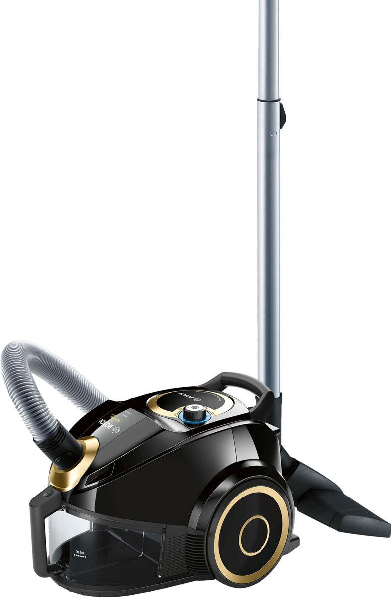 Bosch BGS4UGOLD4, Black Gold пылесосBGS4UGOLD4Компактный контейнерный пылесос Bosch BGS4UGOLD4 премиум класса с уникальной технологией SensorBagless: очень тихий и мощный, минимальное обслуживание. Никаких расходных материалов - купил и забыл.Выпускной фильтр HEPА 14: высочайший стандарт гигиены. Задерживает, не только мельчайшую пыль , но и бактерии и даже вирусы. Не требует замены, можно мыть. Интеллектуальная система оповещения предупредит о необходимости чистки фильтра.SilenceSound System: комплекс инновационных решений по снижению шума: специальная подвеска мотора, шумоизоляция, оптимальный воздушный поток, насадки с низким уровнем шума.Высокоэффективная система сепарации пыли СrossFlow.