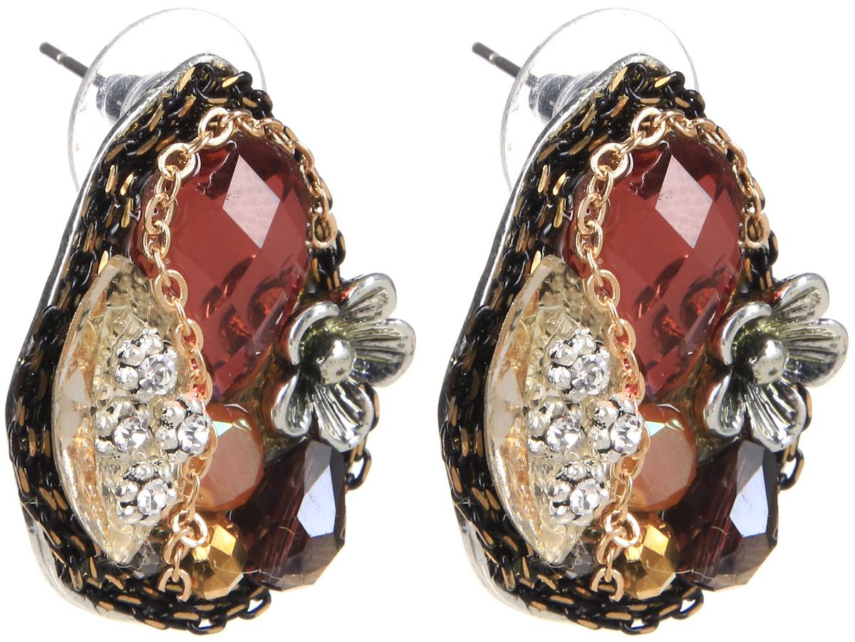 Серьги Selena, цвет: бордовый, золотистый, серебристый. 20071630Серьги с подвескамиСерьги Selena выполнены из металлического сплава и декоративных элементов. Оригинальные вставки придают серьгам изящество и стиль. Длина серег 3 см.
