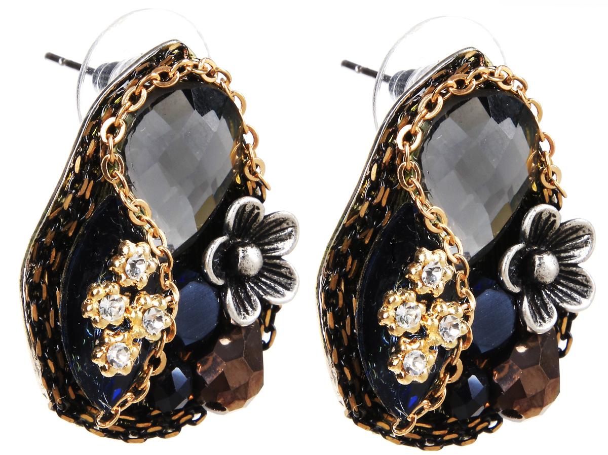 Серьги Selena, цвет: золотистый, серебристый, синий. 20071650Серьги с подвескамиСерьги Selena выполнены из металлического сплава и декоративных элементов. Оригинальные вставки придают серьгам изящество и стиль.Длина серег 3 см.