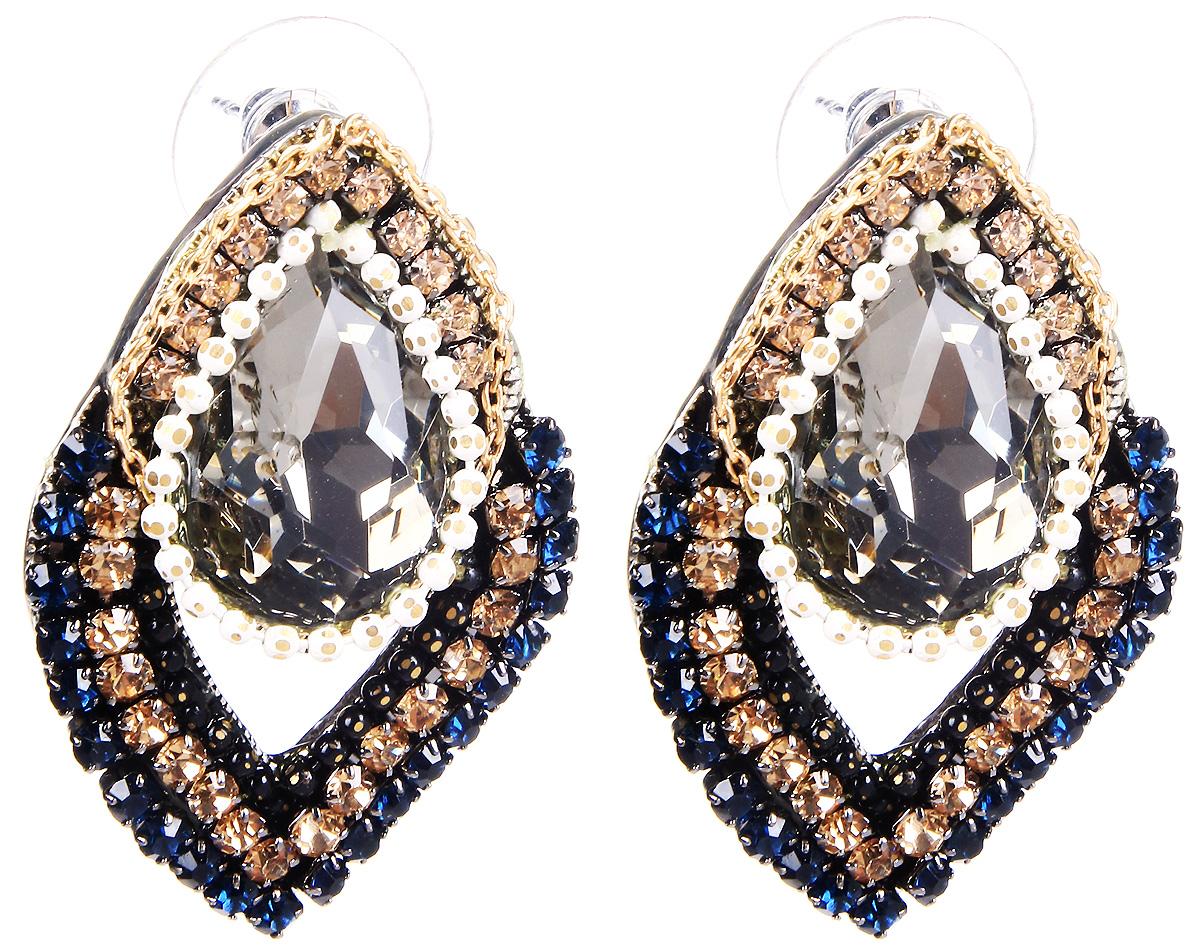 Серьги Selena, цвет: золотистый, серый, синий. 20071920Серьги с подвескамиСерьги Selena выполнены из металлического сплава и декоративных элементов. Оригинальные вставки придают серьгам изящество и стиль.Длина серег 3,5 см.