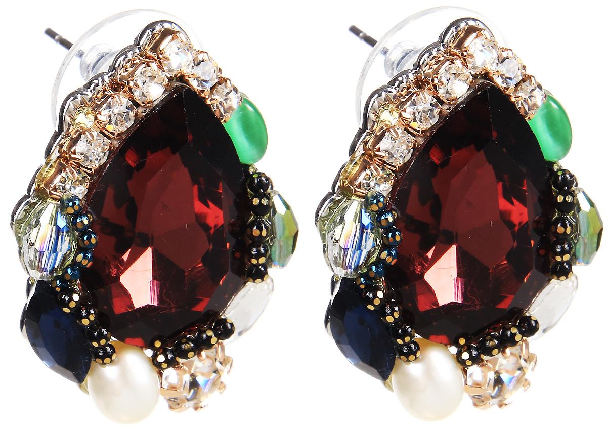 Серьги Selena, цвет: бордовый, зеленый, синий. 20070960Серьги с подвескамиСерьги Selena выполнены из металлического сплава и декоративных элементов. Оригинальные вставки придают серьгам изящество и стиль.Длина серег 2,5 см.