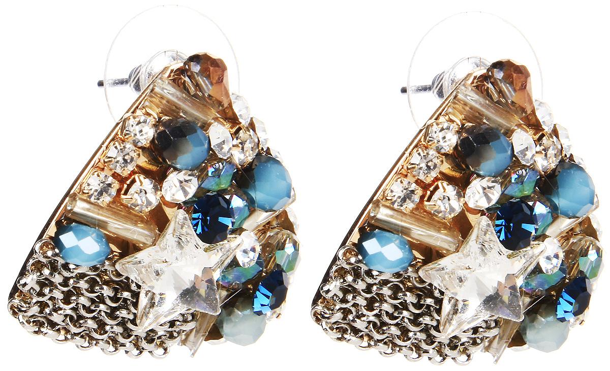 Серьги Selena, цвет: золотистый, синий. 20071960Серьги с подвескамиСерьги Selena выполнены из металлического сплава и декоративных элементов. Оригинальные вставки придают серьгам изящество и стиль.Длина серег 2,5 см.