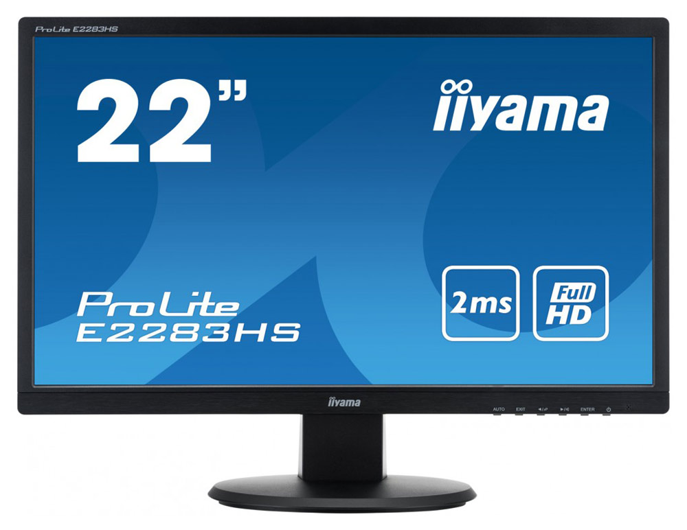 iiyama ProLite E2283HS-B1, Black мониторE2283HS-B121,5 1920x1080, 250cd/m?, >12mln:1 ACR, Speakers, HDMI, DVI, VGA, 1ms, TCO6