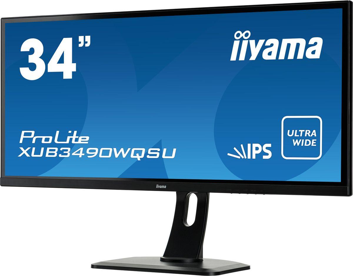 iiyama ProLite XUB3490WQSU-B1, Black мониторXUB3490WQSU-B134 UW IPS panel, 3440x1440 (21:9), Height Adjust. (13cm), 320cdm?, >5mln:1 ACR, Speakers, 2xHDMI, 1HDMI/MHL, DisplayPort, USB-HUB (2x2.0+2x3.0), 5ms
