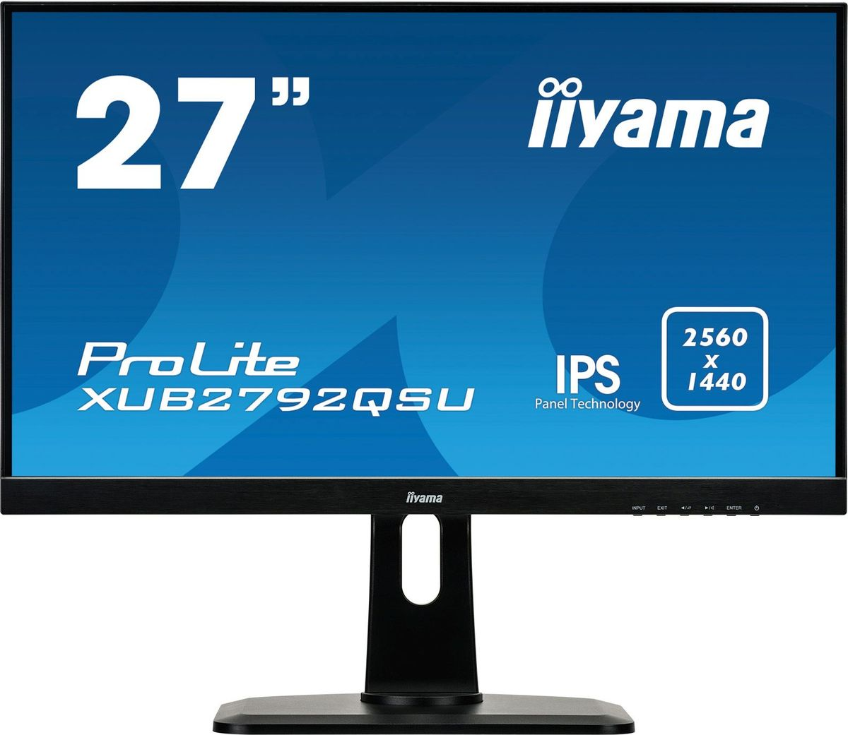 iiyama XUB2792QSU-B1, Black мониторXUB2792QSU-B127 ULTRA SLIM LINE, 2560x1440 WQHD, IPS-panel, 5ms, FreeSync, 13cm height adj. stand, 350cd/m?, >12mlnln:1 ACR, VGA, HDMI, DisplayPort, Speakers, USB-HUB(2x3.0), TCO6