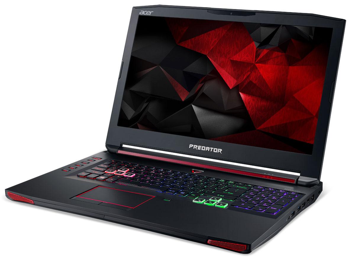 Acer Predator G9-793-71PE, BlackG9-793-71PEВпечатляющая мощность и превосходный стиль - все это в одном ноутбуке. Острые и агрессивные черты напоминают космические крейсеры, а выхлопные отверстия сзади дополняют агрессивный дизайн ноутбуку. Acer Predator G9-793 оснащен высокотехнологичным аппаратным обеспечением и инновационной системой охлаждения. В аппаратную конфигурацию ноутбука входит процессор Intel Core i7-7700HQ седьмого поколения, оперативная память DDR4 и дискретная видеокарта NVIDIA GeForce GTX 1070. Мощные компоненты обеспечивают высокую скорость в современных играх и тяжелых приложениях, например при редактировании видео.NVIDIA G-SYNC обеспечивает плавность игрового процесса за счет синхронизации кадров, обработанных графических процессором, с частотой обновления изображения на экране ноутбука. Это полностью устраняет прерывистость и искажения изображения.Легко обжечься в пылу настоящей битвы. Сохраняйте хладнокровие благодаря усовершенствованной технологии охлаждения. Cooler Master поможет снизить температуру и повысить производительность. А решение Predator FrostCore пригодится вам во время жарких игровых баталий.Отсутствие задержек при подключении зачастую решает исход сетевых поединков. Управляйте подключением к Интернету с помощью технологии Killer DoubleShot Pro. Эта технология позволяет выбрать, какие приложения могут получить доступ к драгоценной пропускной способности. И самое главное - она позволяет использовать для доступа в Интернет проводные и беспроводные подключения одновременно.Predator DustDefender защитит основные компоненты вашего устройства от грязи и пыли. Переменное направление воздушного потока и ультратонкий вентилятор толщиной всего 0,1 мм AeroBlade, полностью выполненный из металла и отличающийся улучшенными аэродинамическими характеристиками, защитит устройство от скопления пыли.Благодаря программе PredatorSense в вашем распоряжении окажутся расширенные настройки для создания уникальной игровой атмосферы. PredatorSense предост