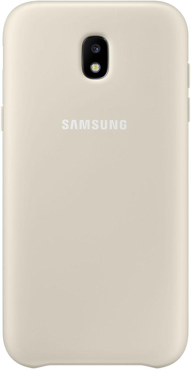 Samsung Dual Layer Cover чехол для Galaxy J3 (2017), GoldEF-PJ330CFEGRUЧехол Samsung Dual Layer Cover изготовлен из эластичного полиуретана. Он защищает смартфон от воды, пыли и грязи, а также поглощает ударные нагрузки, предотвращая повреждение чувствительной электроники.Аксессуар слегка выступает над поверхностью дисплея, не допуская его соприкосновения с твёрдыми предметами. Благодаря этому экран всегда остаётся гладким и чистым, сохраняя отличную видимость изображения.Пользователь в любой момент может сделать снимок, подзарядить аккумулятор или совершить звонок. В поверхности чехла предусмотрены специальные вырезы для камеры, кнопок и других функциональных элементов.