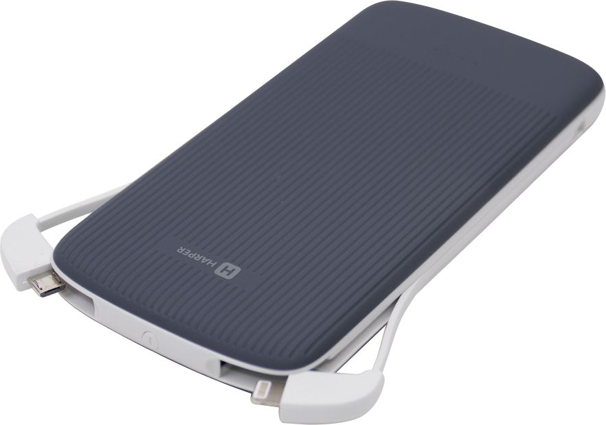 Harper PB-0011, Grey внешний аккумулятор (10000 мАч)00-00001404Внешний аккумулятор для зарядки мобильных устройств. Количество выходных портов: 2;Параметры выходного тока: 5 В, 2,1А; Емкость аккумулятора: 10000 мАч; Вход для зарядки: MicroUSB; Параметры входного тока: 5 В 2А; Время полной зарядки: 6 часов; Индикация разрядки батарей: да; Переходники в комплекте: MicroUSB, Lightning, Type C.