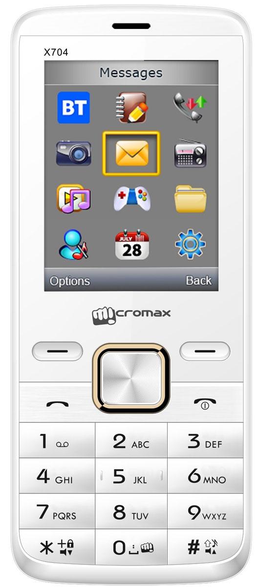 Micromax X704, WhiteT016913Micromax X704 - сотовый телефон в эргономичном корпусе. В распоряжении пользователя все необходимые функции и возможности.Наслаждайтесь ярким цветным изображением на крупном 2,4-дюймовом экране телефона Micromax X704.Слушайте самые горячие музыкальные хиты и любимые мелодии с помощью встроенного аудиоплеера. Или переключитесь на FM-радио. Оставаться всегда на связи и использовать лучшие предложения на рынке мобильных услуг позволит поддержка двух SIM-карт.Телефон сертифицирован EAC и имеет русифицированную клавиатуру, меню и Руководство пользователя.