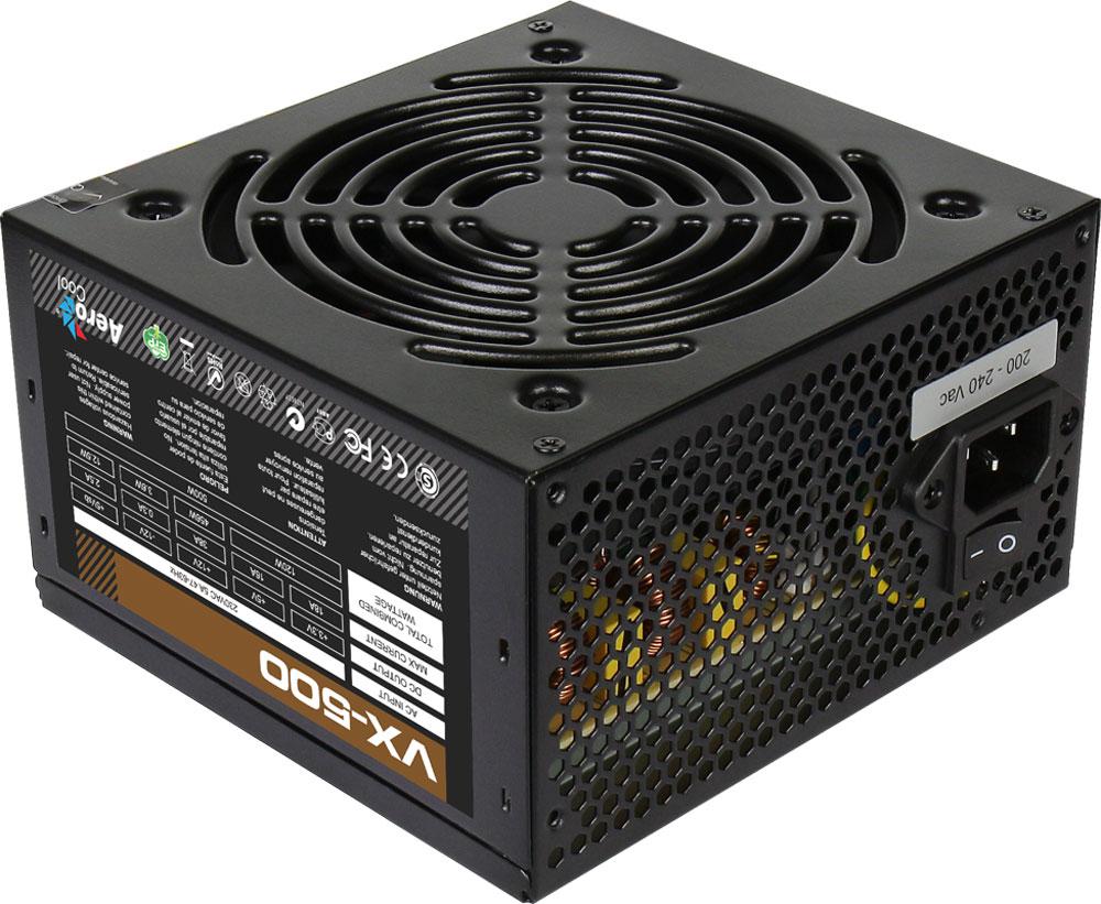 Aerocool VX-500W блок питания для компьютера4713105953602Aerocool VX-500W - это эффективный, надёжный и недорогой блок питания с низким уровнем шумов и помех.Блоки питания линейки VX - самые доступные в ассортименте Aerocool и предназначены для систем начального уровня. Они собраны из высококачественных компонентов и обеспечивают стабильное и надёжное питание для всего системного блока.Хотя устройства линейки VX предназначены для сборки систем начального уровня, Aerocool снабдила их всем необходимым. БП VX работает без шумов и помех, защищён от перепадов напряжения в сети и оборудован 12-см вентилятором с умным управлением скоростью вращения.