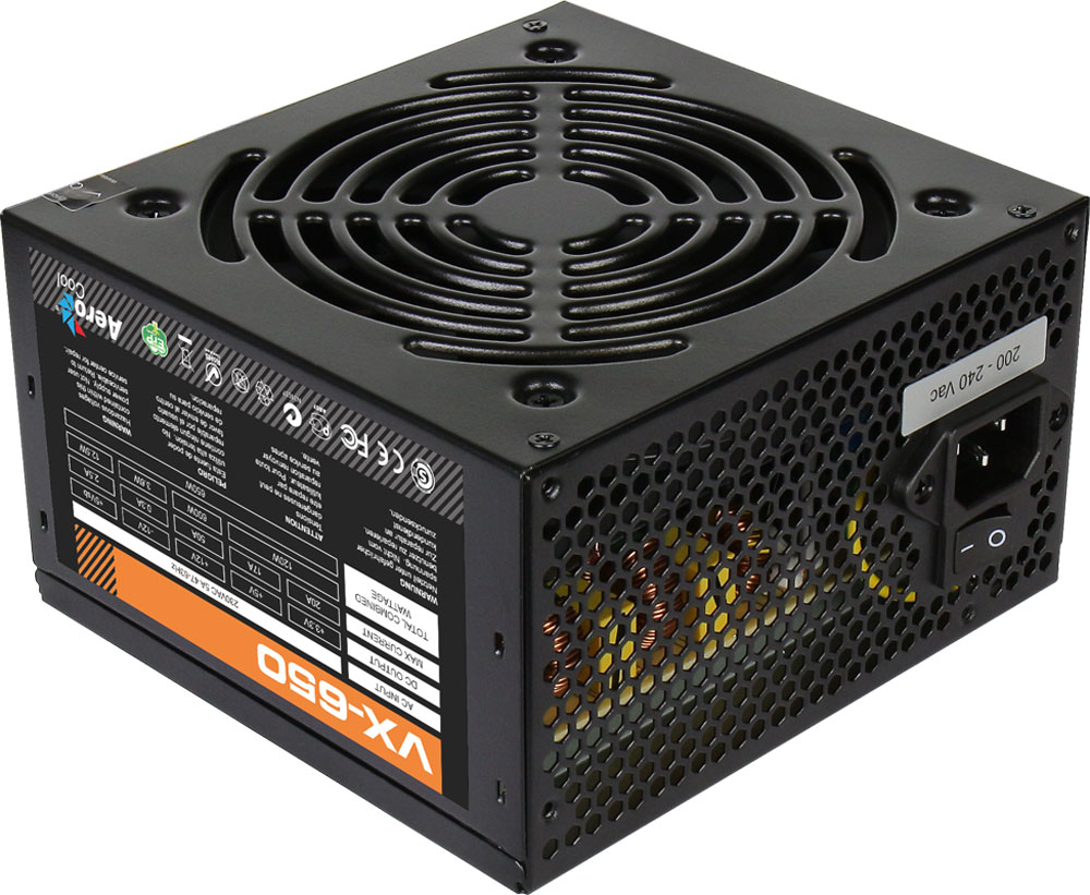 Aerocool VX-650W блок питания для компьютераVX-650Aerocool VX-650W - это эффективный, надёжный и недорогой блок питания с низким уровнем шумов и помех.Блоки питания линейки VX - самые доступные в ассортименте Aerocool и предназначены для систем начального уровня. Они собраны из высококачественных компонентов и обеспечивают стабильное инадёжное питание для всего системного блока.Хотя устройства линейки VX предназначены для сборки систем начального уровня, Aerocool снабдила их всем необходимым. БП VX работает без шумов и помех, защищён от перепадов напряжения в сети и оборудован 12 сантиметровым вентилятором с умным управлением скоростью вращения.