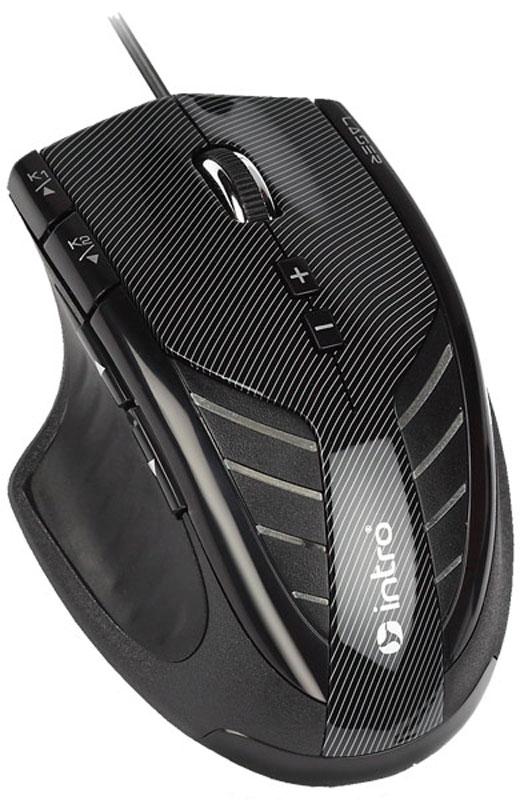 Intro MU208G Gaming, Black игровая мышьMU208GIntro MU208G Gaming - профессиональная игровая мышь со множеством возможностей по тонкой настройке, а также ферритовым кольцом на кабеле для исключения помех и набором грузиков в комплекте для регулировки массы манипулятора.Пользователь может регулировать частоту опроса порта и оптическое разрешение сенсора в широком диапазоне. Это поможет ему настроить мышь в соответствии с задачей, которую нужно решать в данный момент.На корпусе мыши расположены девять клавиш. Любую из них можно запрограммировать на выполнение определённой команды, чтобы во время игры запускать её одним нажатием кнопки.