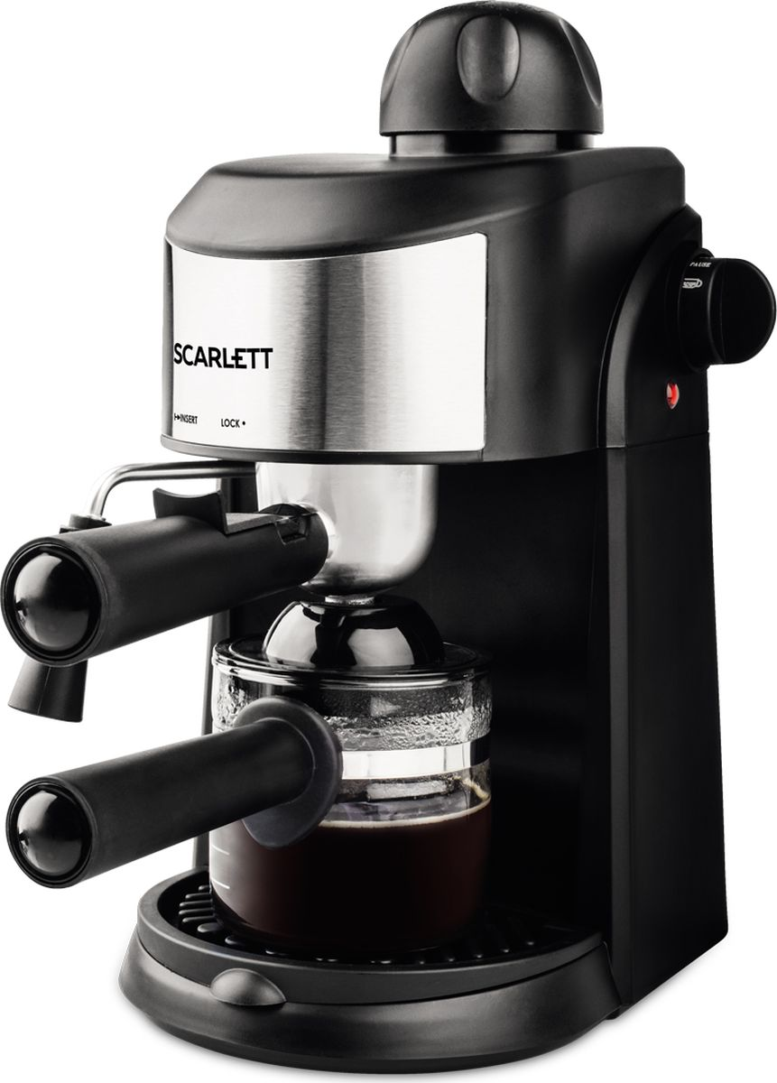 Scarlett SC-CM33005, Black кофеваркаSC-CM33005Кофеварка эспрессо, капучино, 800 Вт, 240 мл